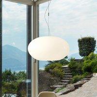 Glass pendant light AIH 38 cm white lustrous