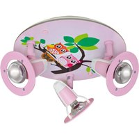 Owl ceiling light for a child s room  pink