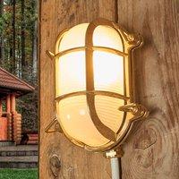 Oval outdoor wall light Bengt brass