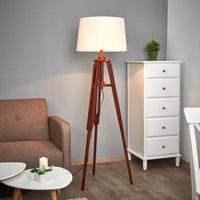 Tripod floor lamp Marvin in wood  height 158 cm
