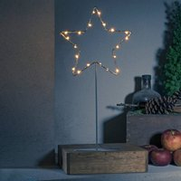 Standing LED metal star   silver with base