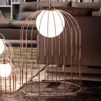 Cage shaped table lamp Kluvi in copper