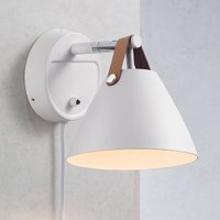 Strap wall light with a leather strap  white