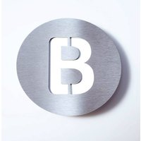 Round stainless steel house number   B