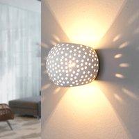 Spherical plaster wall lamp Jiru with hole pattern