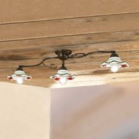ROSOLACCI ceiling light with ceramic shades 3 bulb