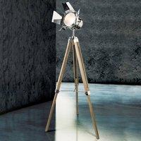 Houten vloerlamp Evy met schijnwerper in chroom