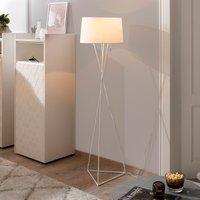 White fabric floor lamp New York  pull switch