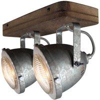 Woody ceiling light  galvanised  2 bulb