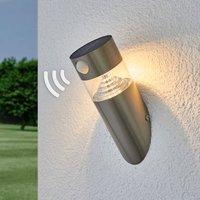 Solar-LED-Wandlampe Kalypso, schräg u. Sensor