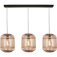 Malacca hanging light  wooden lampshade  3 bulb