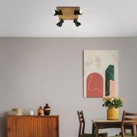 Plafondspot Arbo met houtelement, 4-lamps