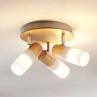 Wooden LED ceiling spotlight Christoph  three bulb
