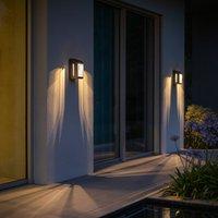 Corner LED solar wall light with sensor  grey