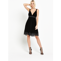 Miss Selfridge Velvet Lace Hem Dress