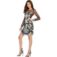 Maya Sheer Long Sleeved Embellished Mini Dress