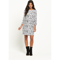 Warehouse Daisy Print Long Sleeved Dress