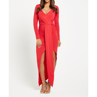 Very Plunge Neck Long Sleeved Maxi Dress