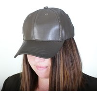 Ladies Khaki PU Baseball Cap