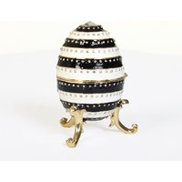 Black and White Stripe Heart Egg Trinket Box