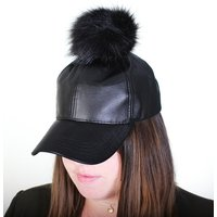 Ladies Removable Pom Pom Baseball Cap