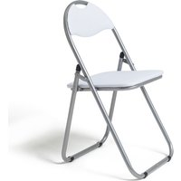 Habitat Padded Faux Leather Folding Office Chair - White, White