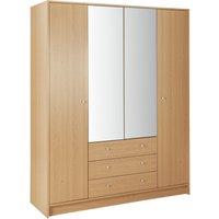 Habitat Malibu 4 Dr 3 Drawer Mirror Wardrobe - Oak Effect, Oak