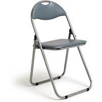 Habitat Padded Faux Leather Folding Office Chair - Grey, Grey