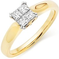 18ct Gold Diamond Princess Cut Cluster Ring