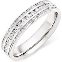 18ct White Gold Diamond Three Row Ring