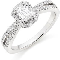 18ct White Gold Diamond Emerald Cut Halo Ring