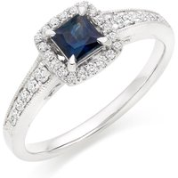 18ct White Gold Diamond Sapphire Ring
