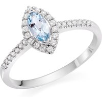 18ct White Gold Diamond Aqua Diamond Ring
