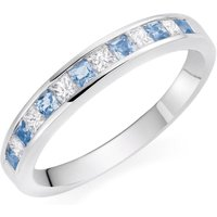 18ct White Gold Aqua Diamond Half Eternity Ring