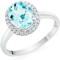 18ct White Gold Blue Topaz And Diamond Halo Ring