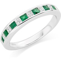 18ct White Gold Diamond And Emerald Half Eternity Ring