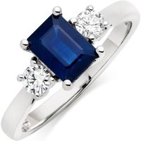 18ct White Gold Diamond And Sapphire Three Stone Ring