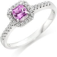 18ct White Gold Diamond And Pink Sapphire Ring