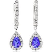 18ct White Gold Diamond Tanzanite Earrings