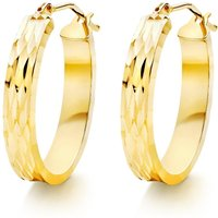 9ct Gold Sparkle Cut Hoop Earrings