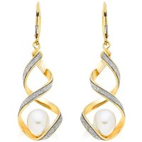 9ct Gold Glitter Twist Freshwater Cultured Pearl Earrings