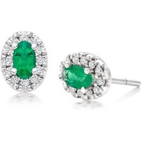 18ct White Gold Emerald Diamond Halo Stud Earrings