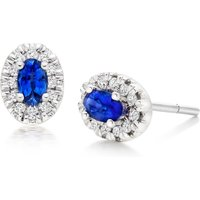 18ct White Gold Diamond Sapphire Halo Stud Earrings