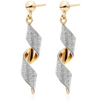 9ct Gold Glitter Swirl Drop Earrings