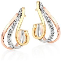 9ct Gold, White Gold And Rose Gold Crystal Hoop Earrings