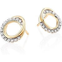 9ct Gold Diamond Circle Earrings