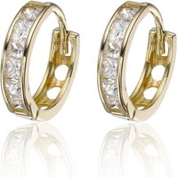 9ct Gold Cubic Zirconia Hoop Earrings