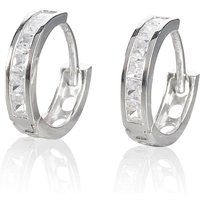 9ct White Gold Cubic Zirconia Hoop Earrings