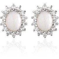 9ct Gold Opal And Cubic Zirconia Stud Earrings
