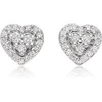9ct White Gold Diamond Heart Stud Earrings